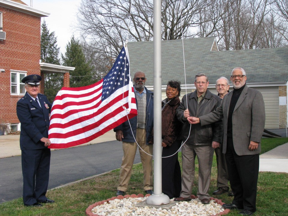 Brigadier General Robert S. Dutko, Sr., Moses Johnson, Ann Watkins, Ewing Mayor, Bert Steinmann and Garry Keel